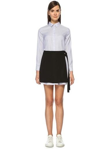 Gömlek Yaka Çizgili Mini Elbise-English Factory
